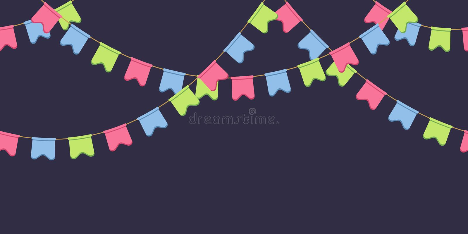 Seamless garland with celebration flags chain, pink, blue, green rounded pennons on dark background, footer and banner. For decoration, eps 10 stock illustration