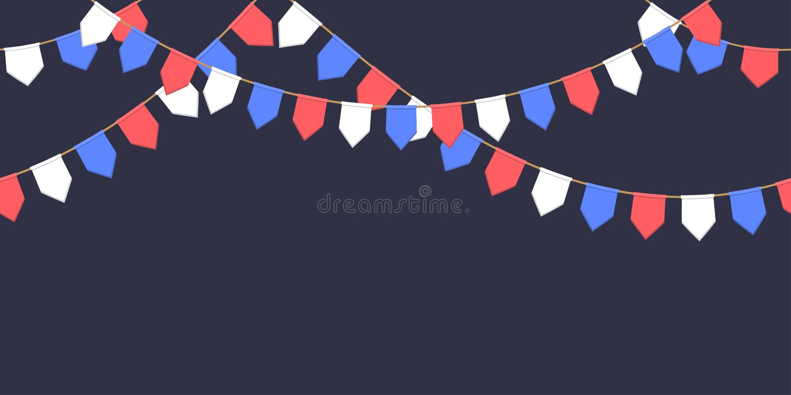 Seamless garland with celebration flags chain, white, blue, red pennons on dark background, footer and banner fireworks. Eps 10 royalty free illustration