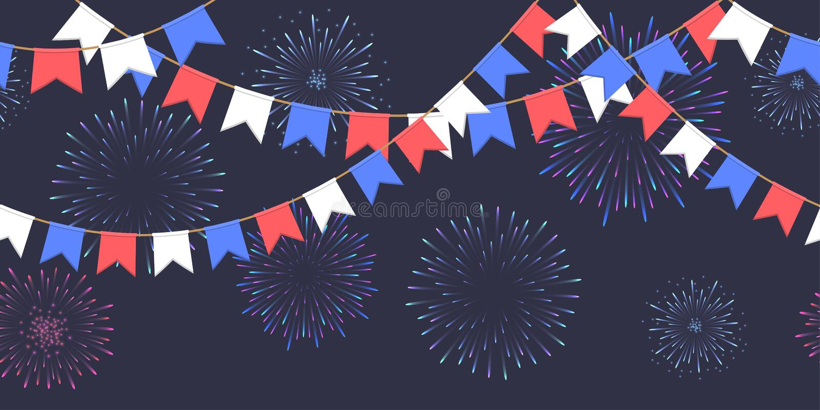 Seamless garland with celebration flags chain, white, blue, red pennons and salute on dark background, footer and banner fireworks. Seamless garland with vector illustration