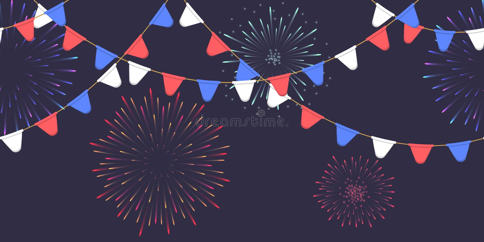 Seamless garland with celebration flags chain, white, blue, red pennons and salute on dark background, footer and banner. Seamless garland with celebration flag royalty free illustration