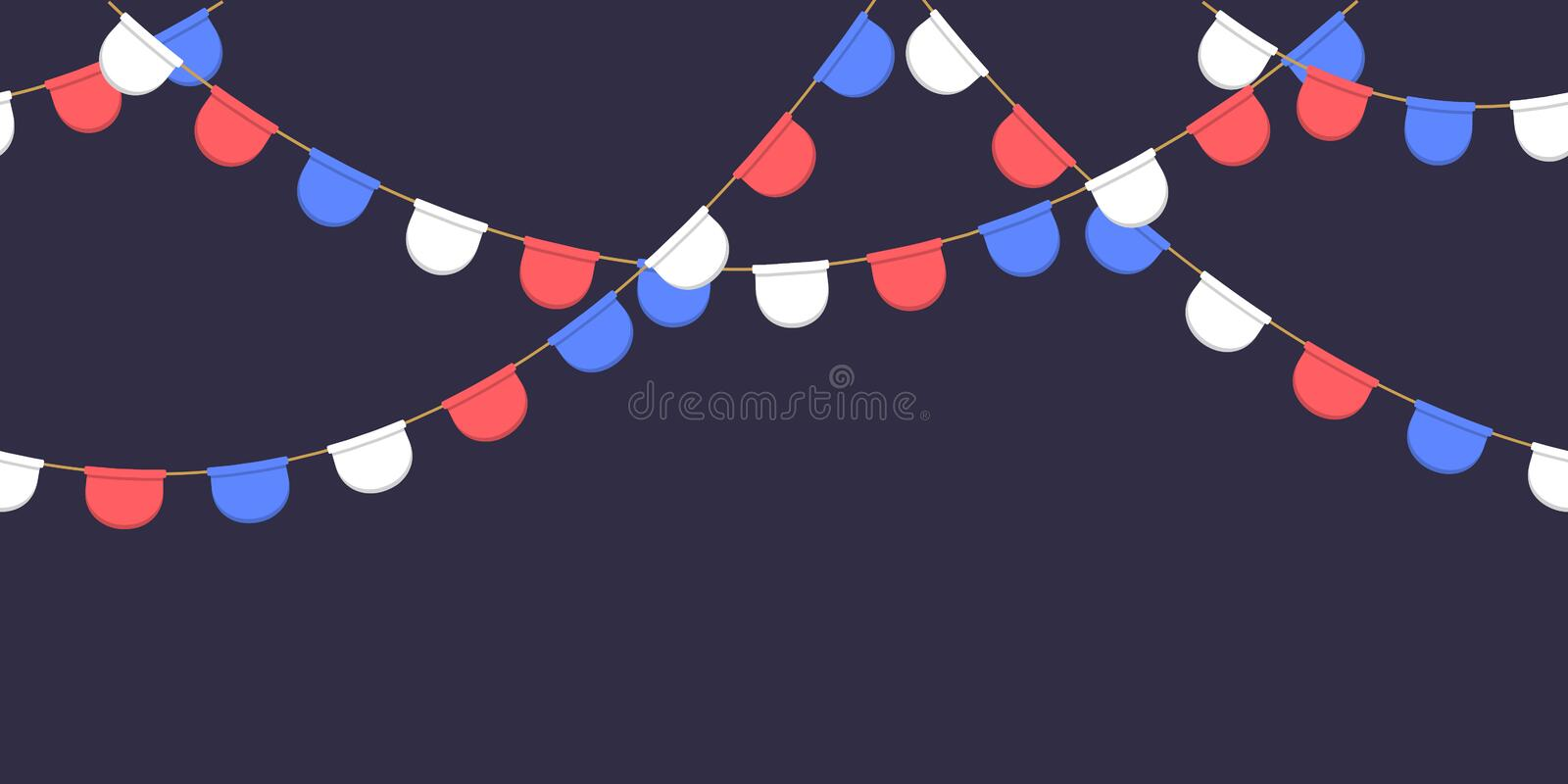 Seamless garland with celebration flags chain, white, blue, red pennonson dark background, footer and banner for decoration. S vector illustration