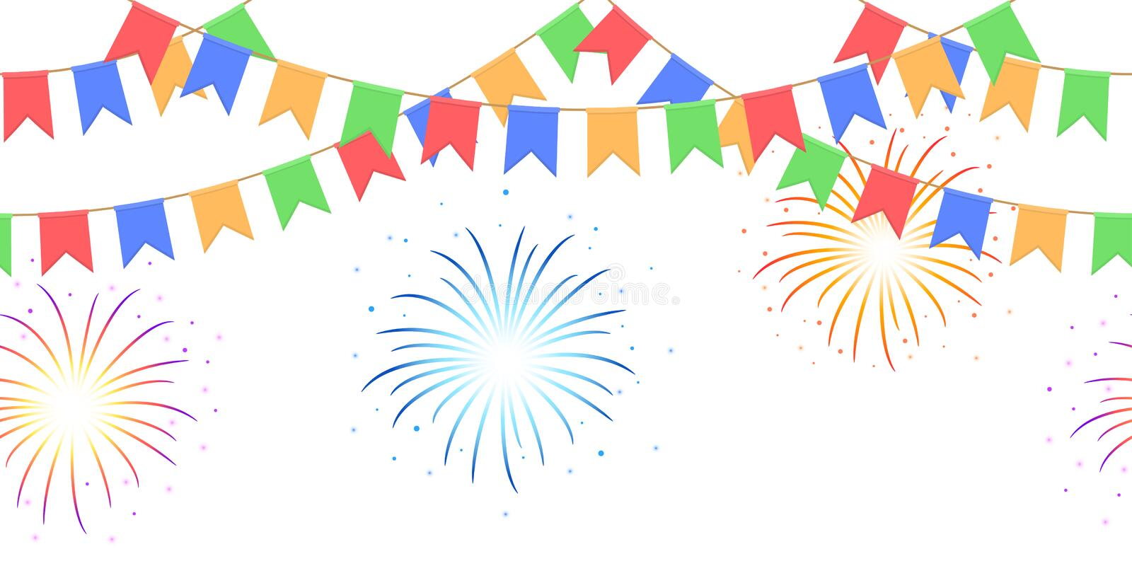 Seamless garland with celebration flags chain, yellow, blue, red, green pennons and salute on white background, footer and banner. Seamless garland with stock illustration