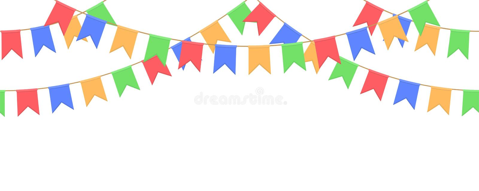 Seamless garland with celebration flags chain, yellow, blue, red, green pennons on white background, footer and banner for decorat. Seamless garland with royalty free illustration