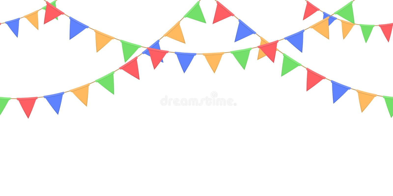 Seamless garland with celebration flags chain, yellow, blue, red, green pennons on white background, footer and banner for decorat. Ion, eps 10 vector illustration