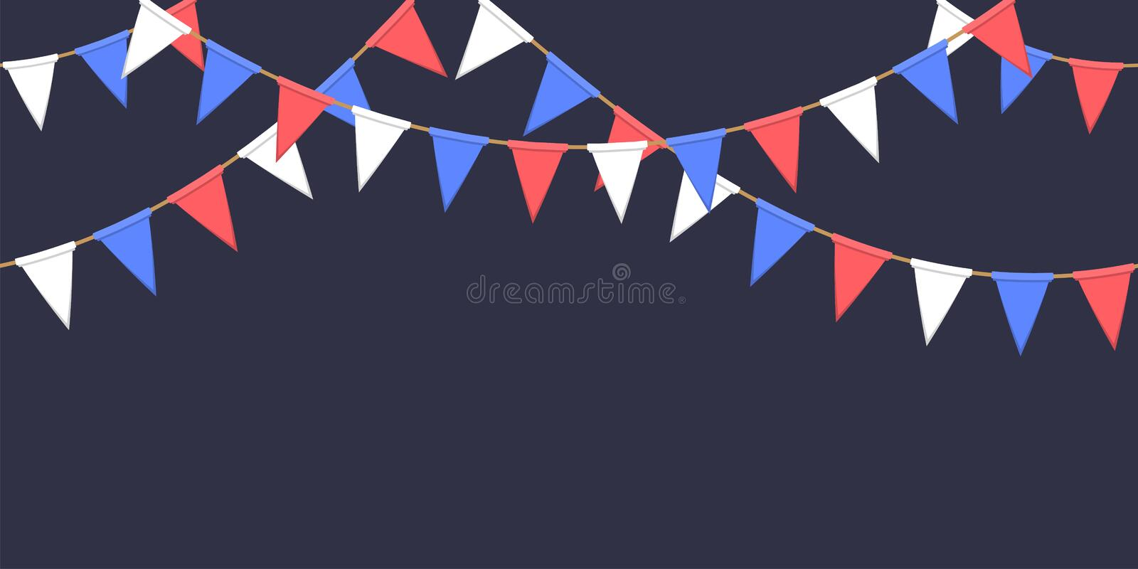 Seamless garland with triangle celebration flags chain, white, blue, red pennons on dark background, footer and banner fireworks. Eps 10 royalty free illustration