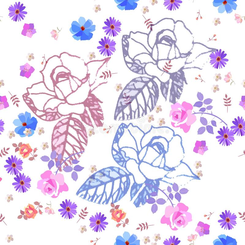 Seamless gentle ditsy floral pattern with roses, bell and cosmos flowers on white background. Print for fabric.  royalty free illustration