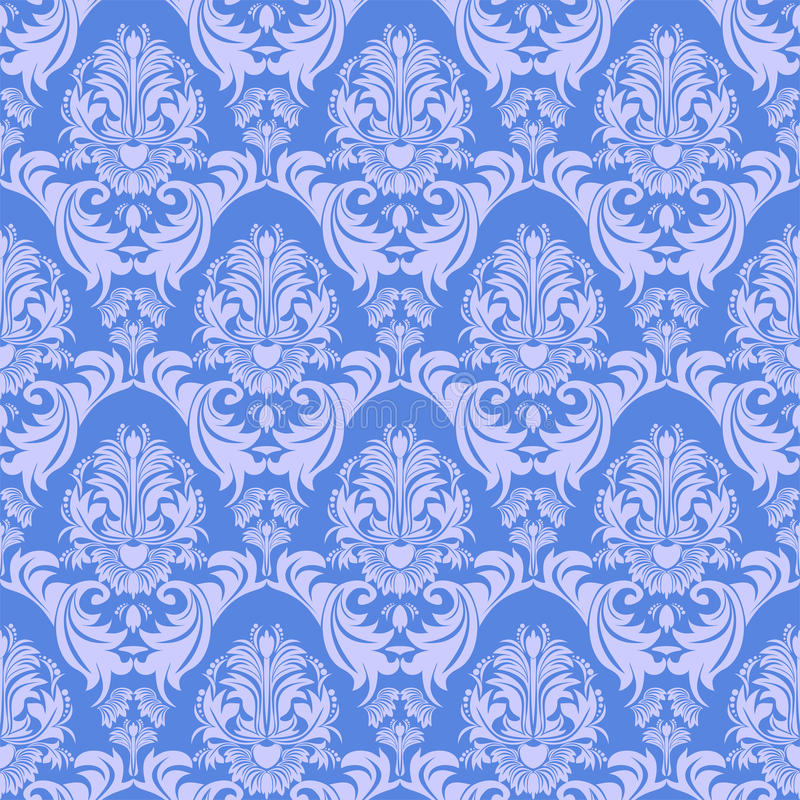 Download Seamless Gently Blue Damask Wallpaper For Design Stock Vector