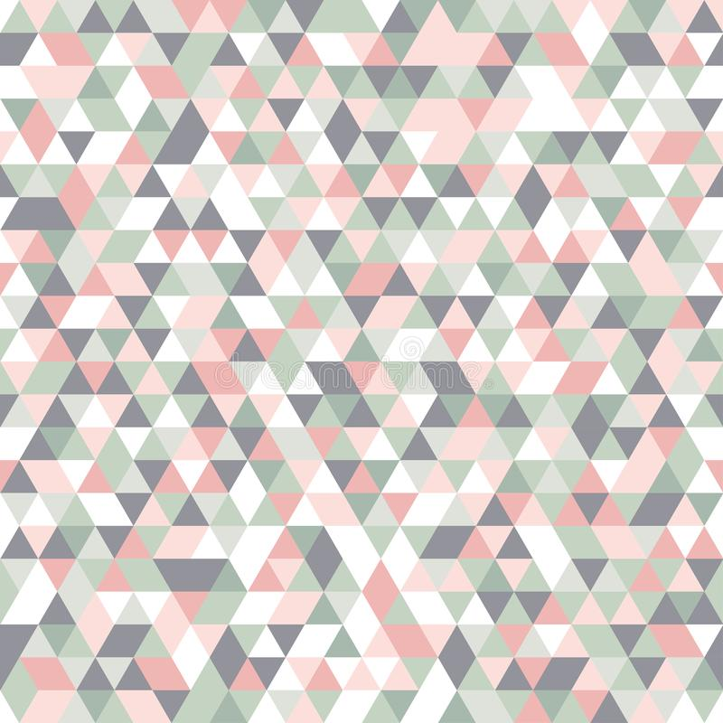 Geometric mosaic pattern pastel colors pink grey white green triangle. Seamless Geometric abstract mosaic pattern pastel colors pink grey white green triangles royalty free illustration