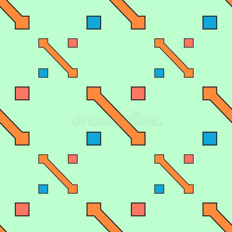 Seamless geometric abstract pattern vector background colorful design vintage retro art with arrows and squares orange aqua blue p royalty free illustration