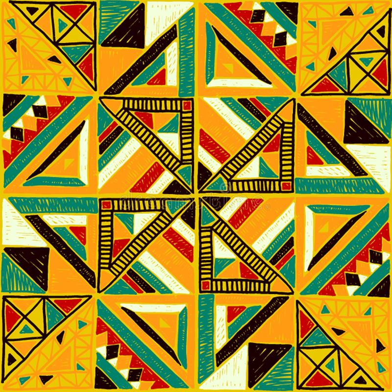 Seamless African pattern. Ethnic ornament on the carpet. Aztec style. Figure tribal embroidery. Indian, Mexican, folk pattern. royalty free stock image