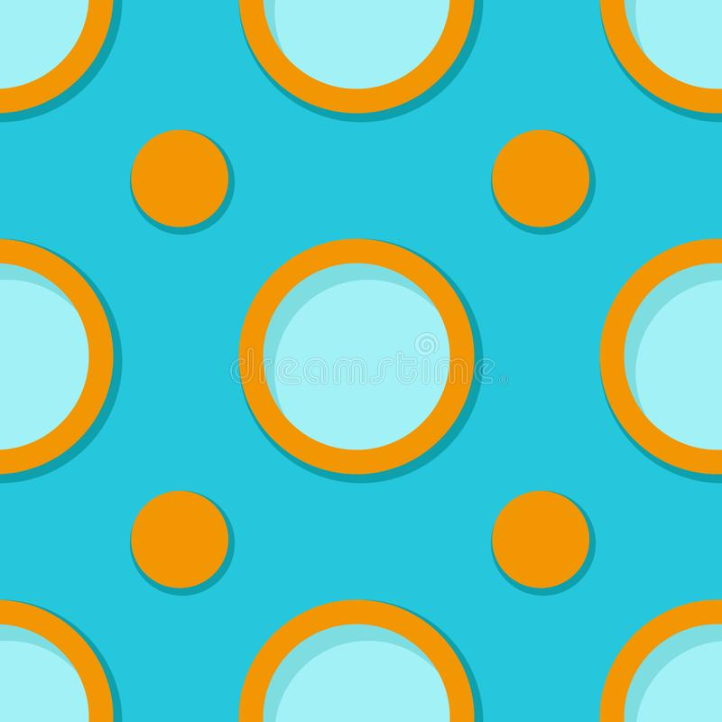 Seamless geometric background. Blue and orange 3d circle pattern vector illustration