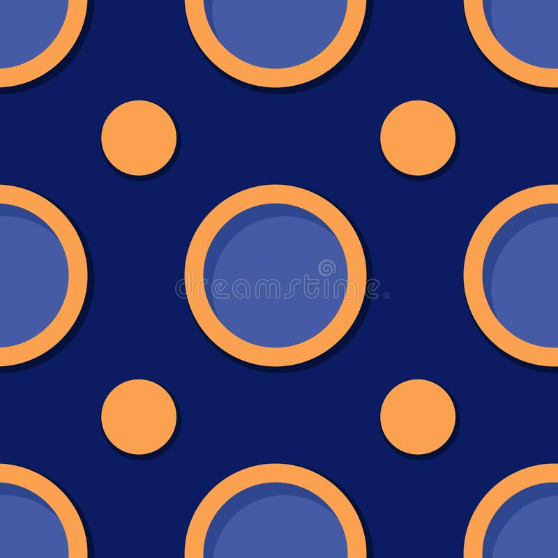 Seamless geometric background. Deep blue and orange 3d circle pattern stock illustration