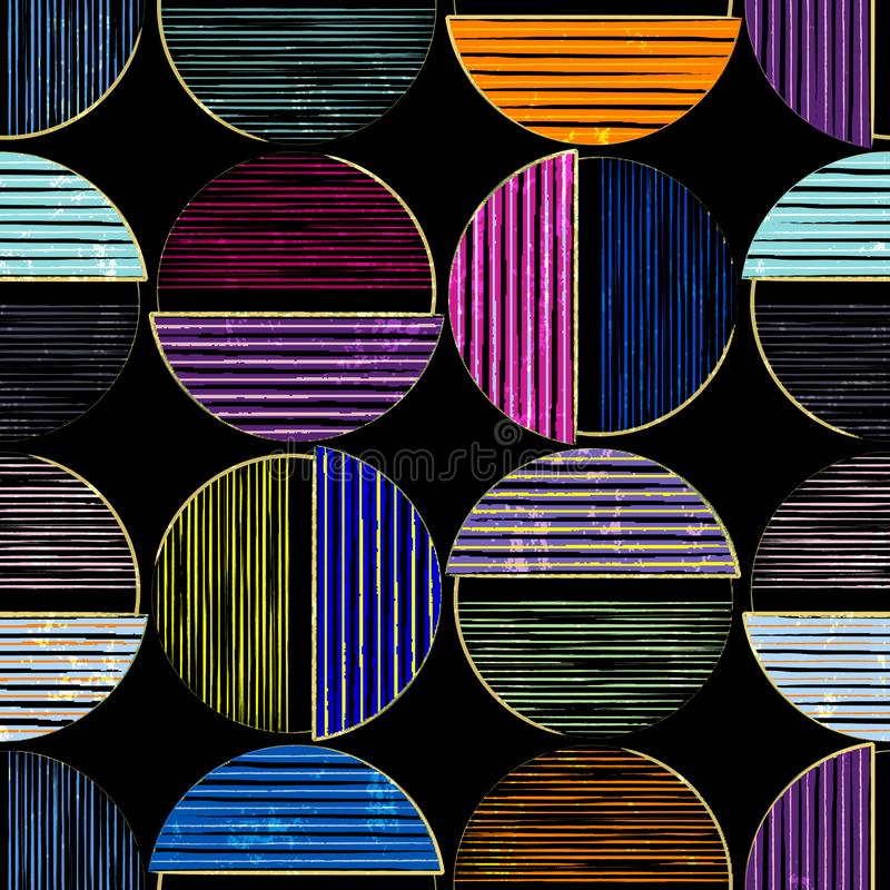 seamless geometric background pattern, with circles/semicircles, paint strokes and splashes, multicolor stock illustration