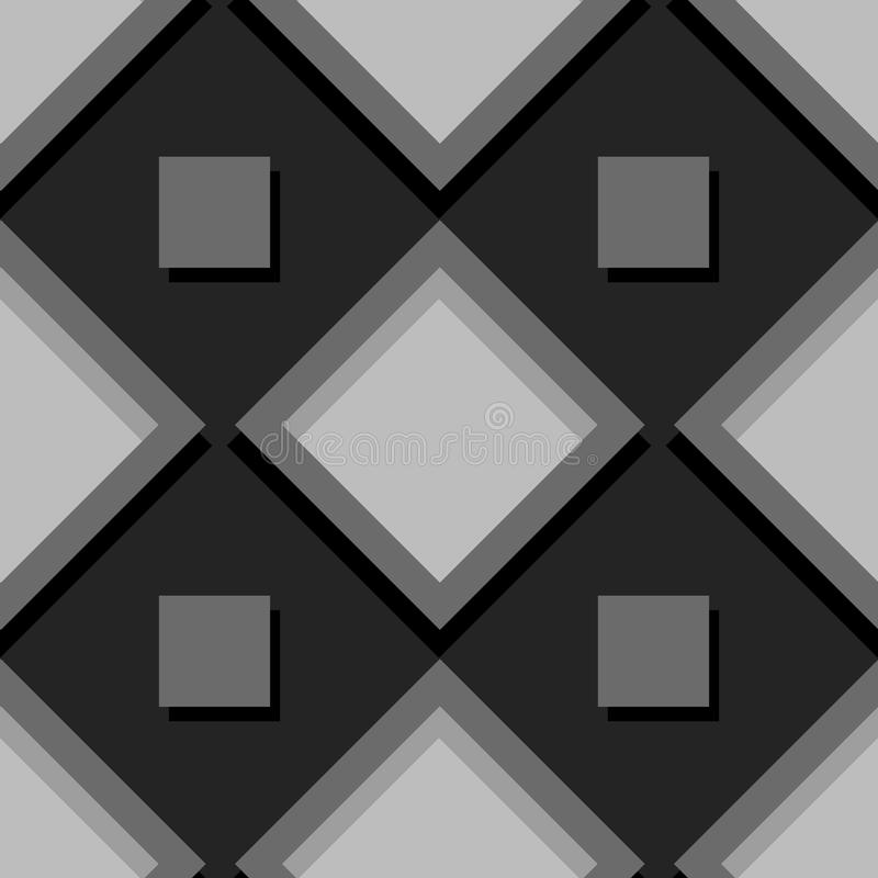 Seamless geometric background with square elements. Black and gray 3d pattern vector illustration