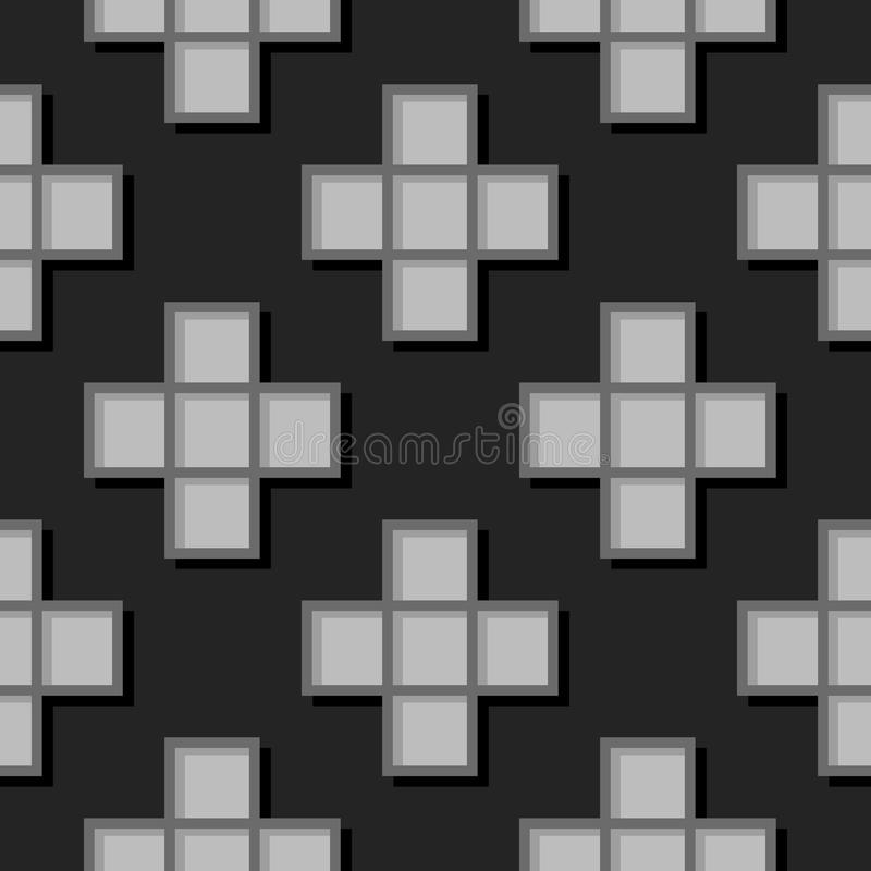 Seamless geometric background with square elements. Black and gray 3d pattern royalty free illustration