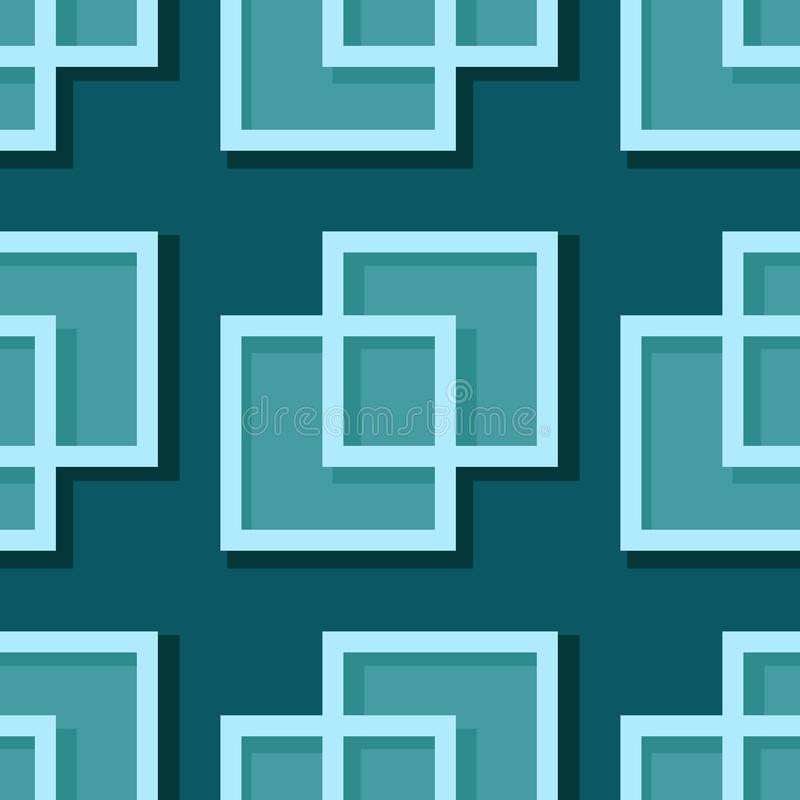 Seamless geometric background with square elements. Blue green 3d pattern vector illustration
