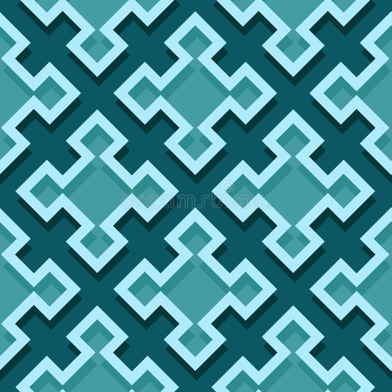 Seamless geometric background with square elements. Blue green 3d pattern royalty free illustration