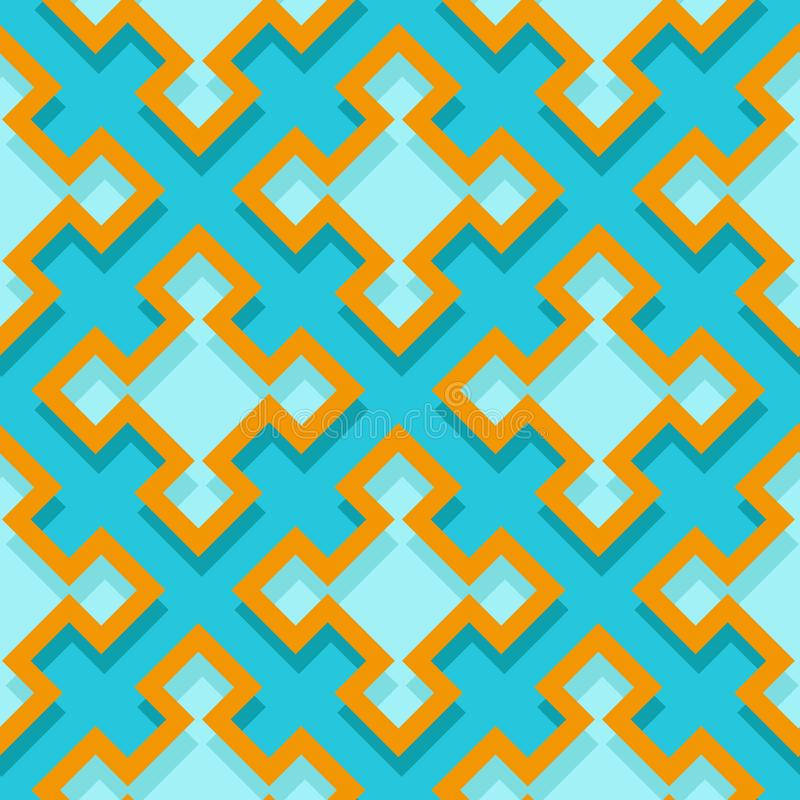 Seamless geometric background with square elements. Blue and orange 3d pattern stock illustration