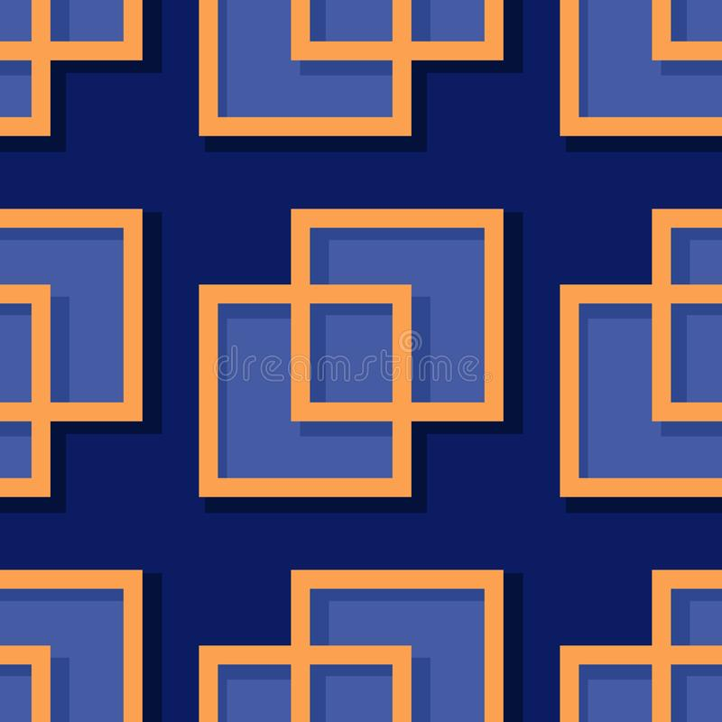 Seamless geometric background with square elements. Deep blue and orange 3d pattern vector illustration
