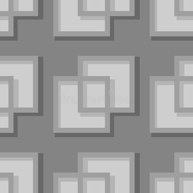 Seamless geometric background with square elements. Gray 3d pattern royalty free illustration