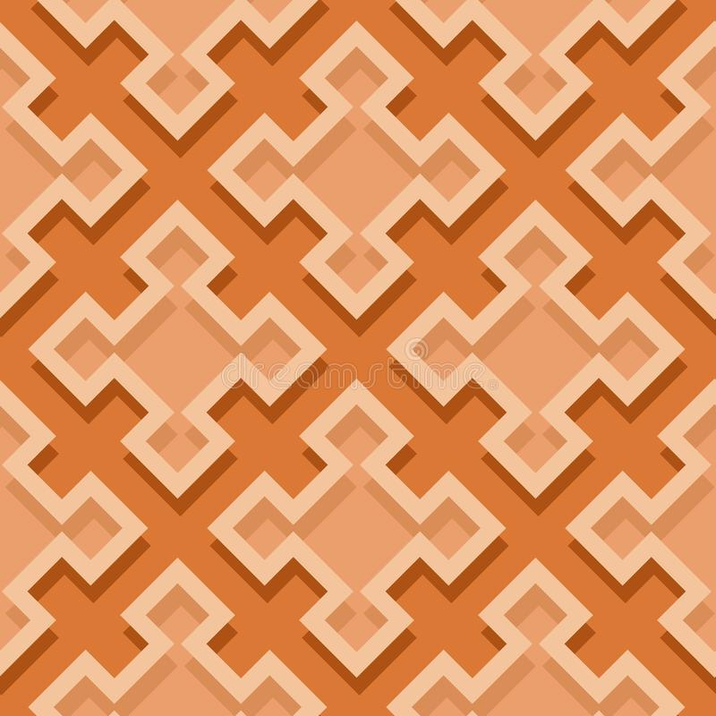Seamless geometric background with square elements. Orange 3d pattern vector illustration