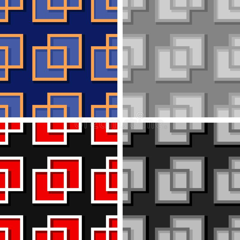 Seamless geometric backgrounds with square elements. Colored 3d patterns vector illustration
