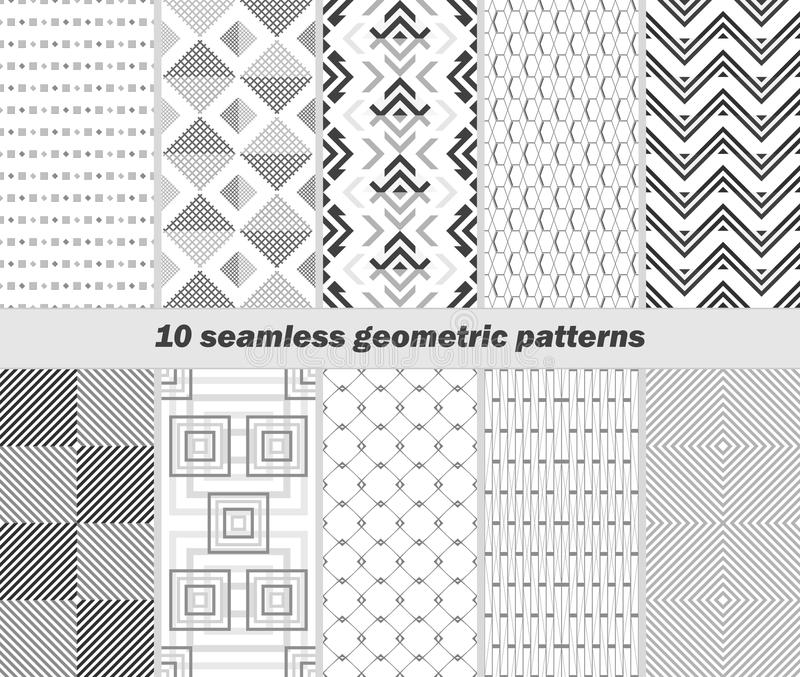 10 seamless geometric black and white patterns stock illustration