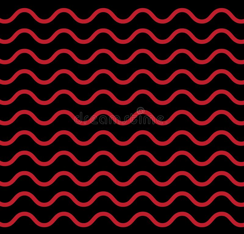 Seamless Geometric Black White Red Brown Wave Lines Background Vector Pattern vector illustration