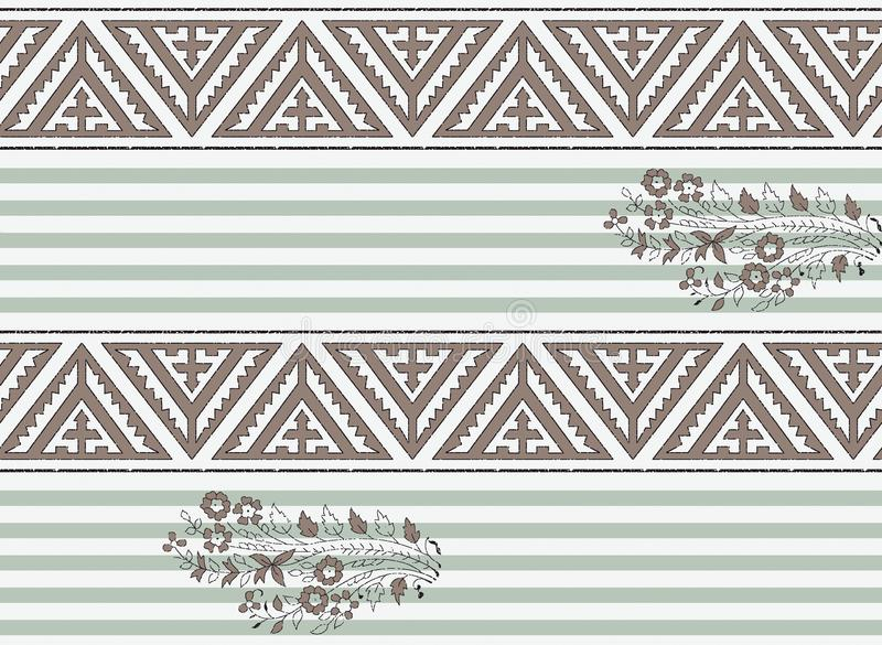 Seamless geometric border with stripe background stock illustration