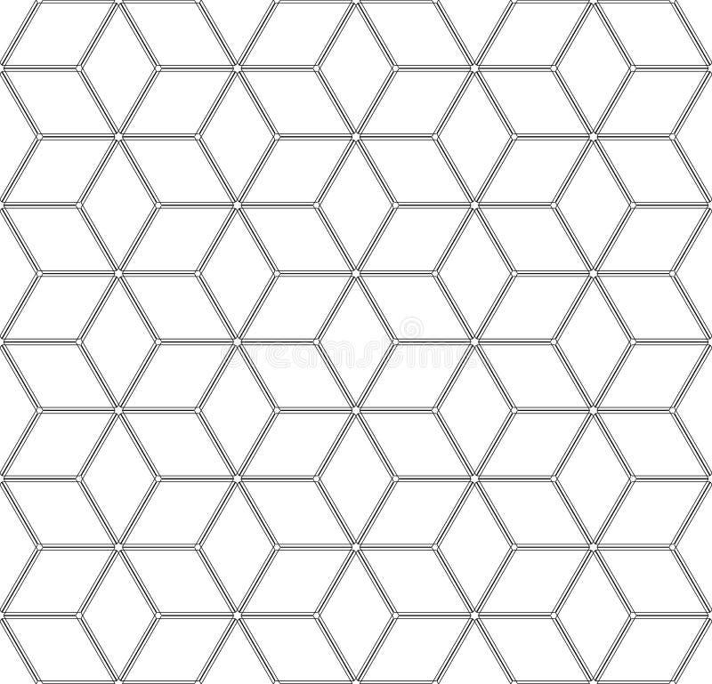 Seamless geometric diamonds and hexagons pattern. Latticed isometric structure stock illustration
