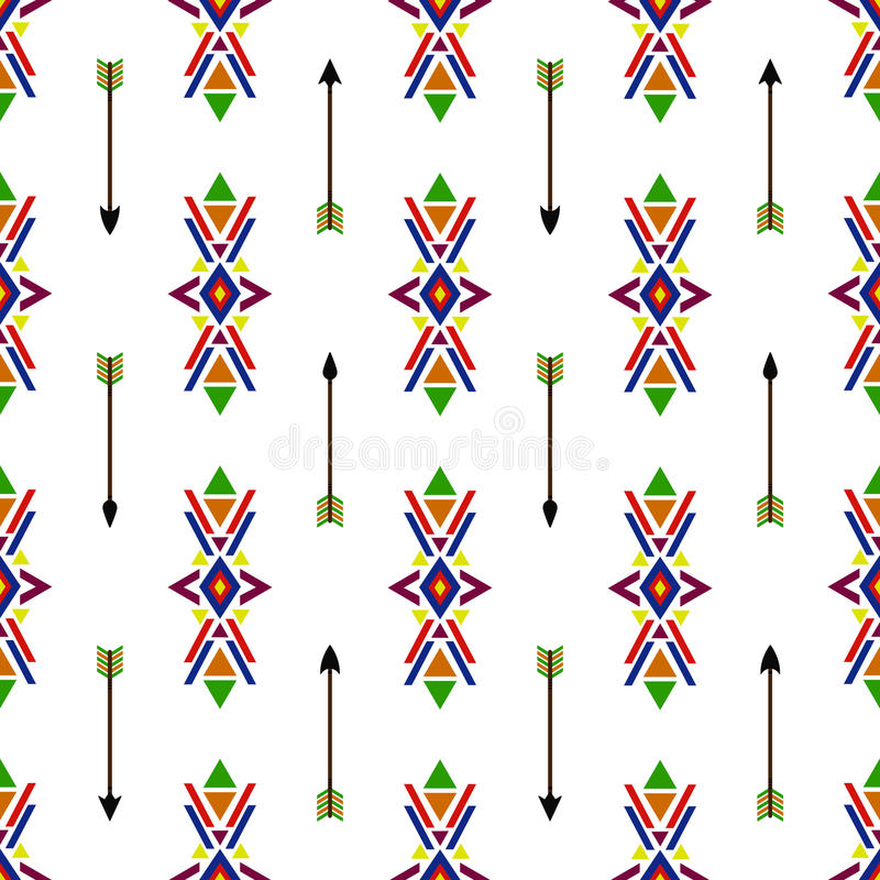 Seamless geometric ethnic traditional Native American Indian Navajo vector pattern vintage retro background colorful design with t stock illustration