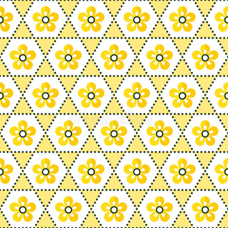 Seamless geometric floral background pattern yellow white stock illustration