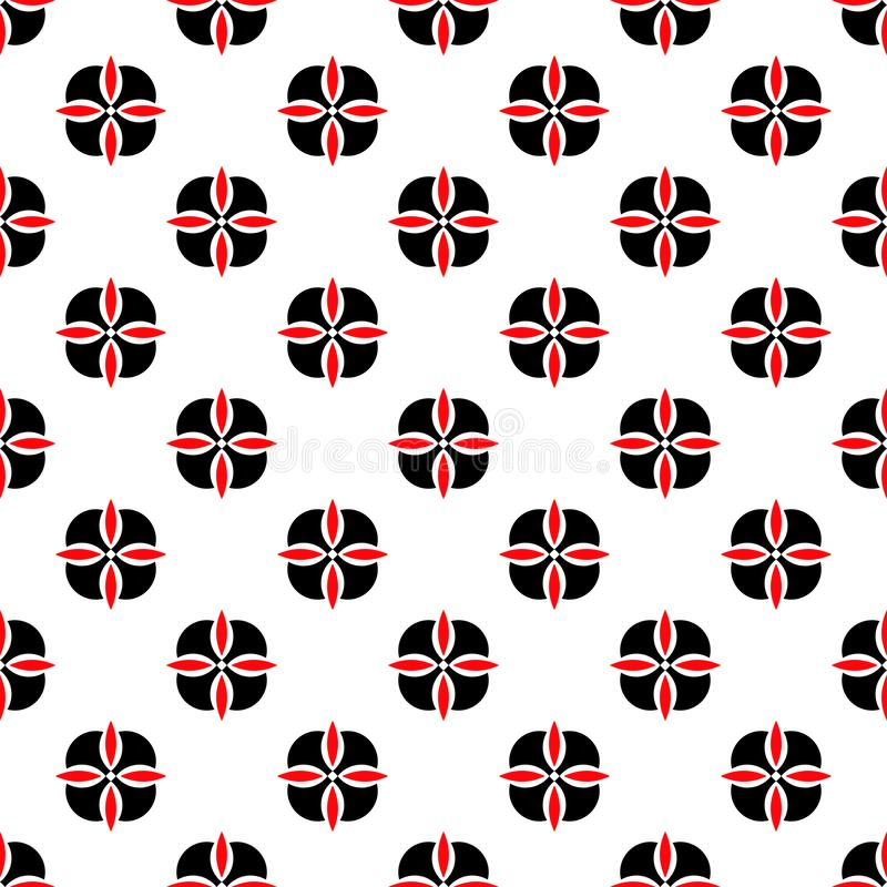 Seamless geometric floral flower pattern vector background abstract design art black and red royalty free illustration