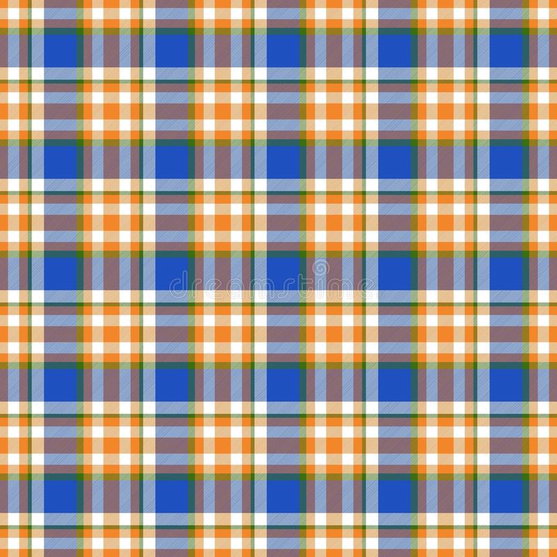 Seamless geometric gingham pattern. Abstract background. Blue, orange, green and white stripes vector illustration