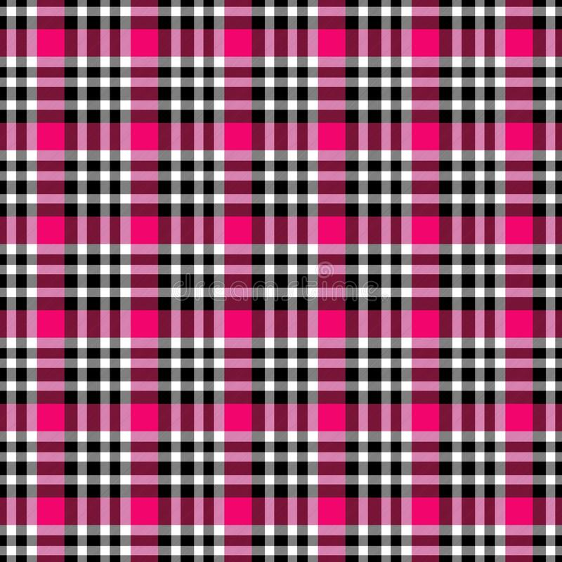 Seamless geometric gingham pattern. Abstract background. Fuchsia, red, black and white stripes vector illustration