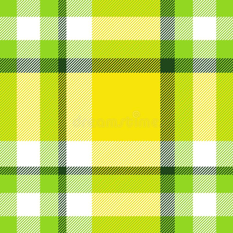 Seamless geometric gingham pattern. Abstract background. Green, yellow and white stripes vector illustration