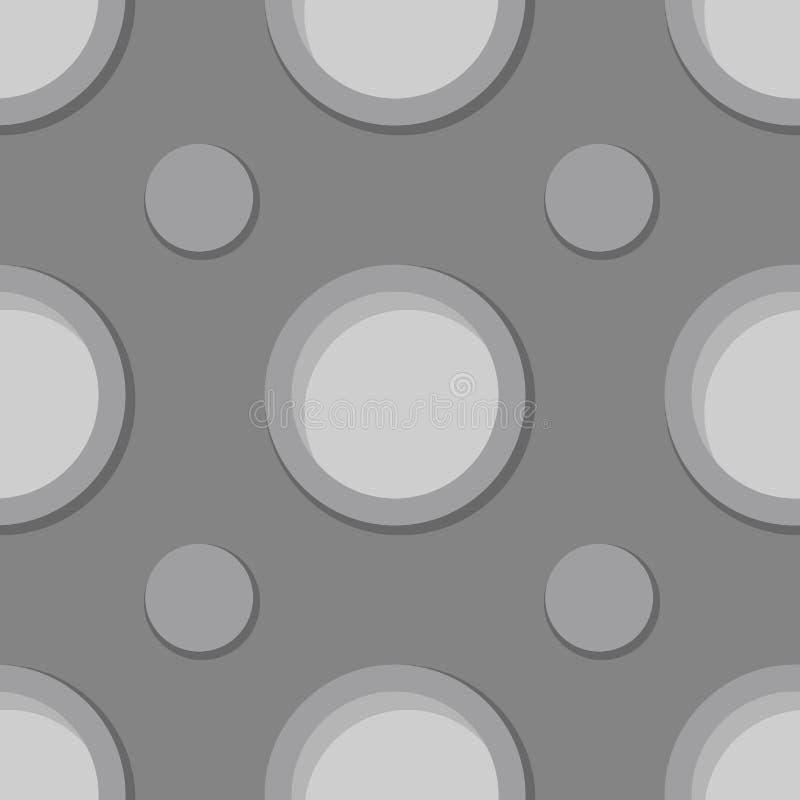 Seamless geometric gray background. 3d circle pattern royalty free illustration