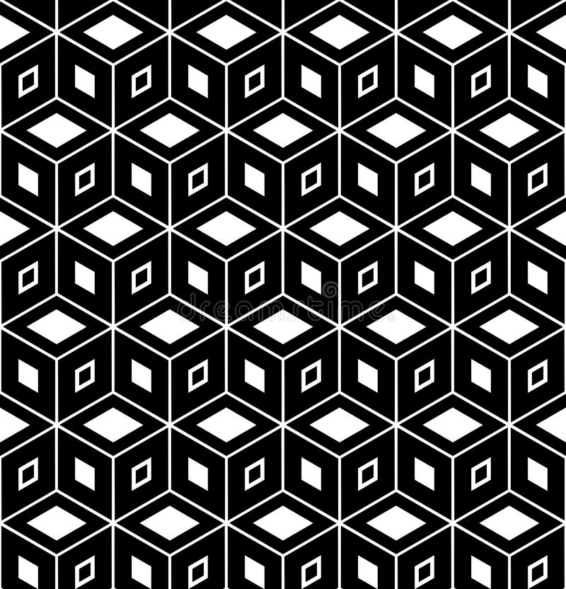 Seamless geometric pattern. 3D illusion. Seamless geometric hexagons and diamonds pattern. 3D illusion. Vector art vector illustration