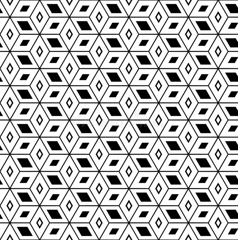 Seamless geometric pattern. 3D illusion. Seamless geometric hexagons and diamonds pattern. 3D illusion. Vector art royalty free illustration