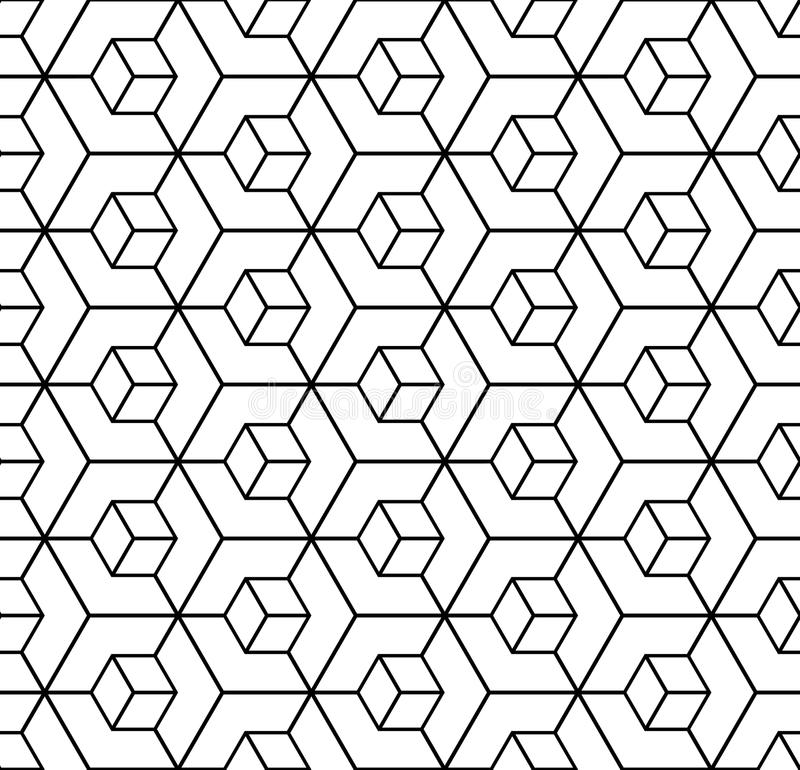 Seamless geometric hexagons pattern. 3D illusion. Vector art stock illustration