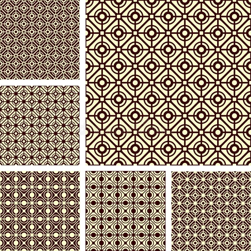 Free Seamless Geometric Latticed Patterns Set. Stock Photo - 21073100