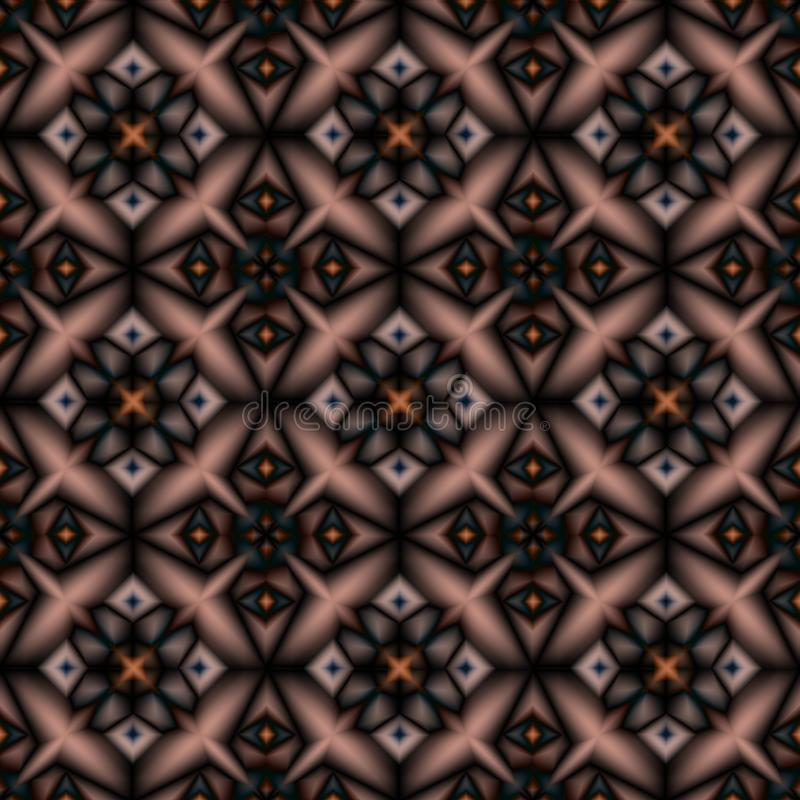Seamless geometric Oriental pattern. Black, brown pattern on a beige background. royalty free illustration