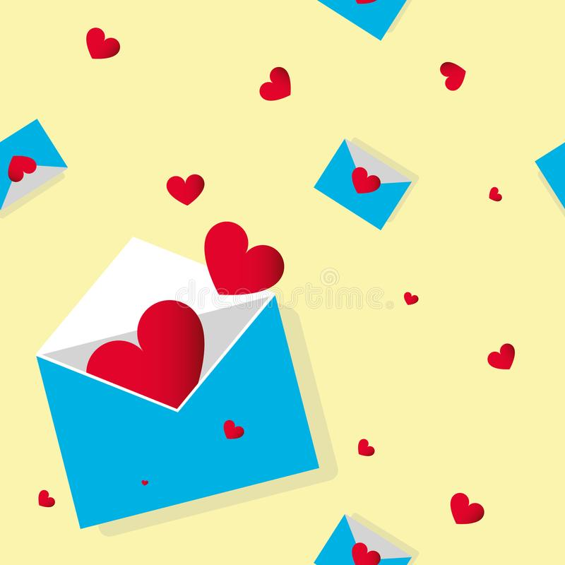 Seamless geometric outline pattern with red hearts and love letters, blue envelopes on yellow background. Bright design for web, p vector illustration