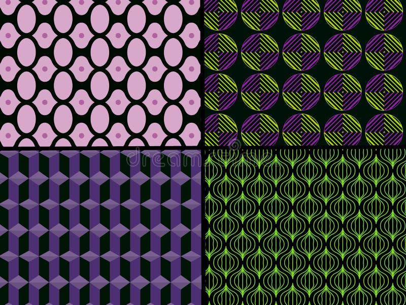 Seamless geometric pattern background . Illustration design. Set, collection, fabric, plaid, shspe, geometry, new, art, violet, grern, blanket, graphic royalty free illustration
