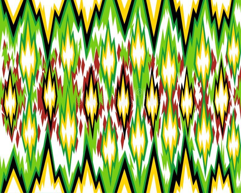 Seamless geometric pattern, based on ikat fabric style. Vector illustration. stock illustration