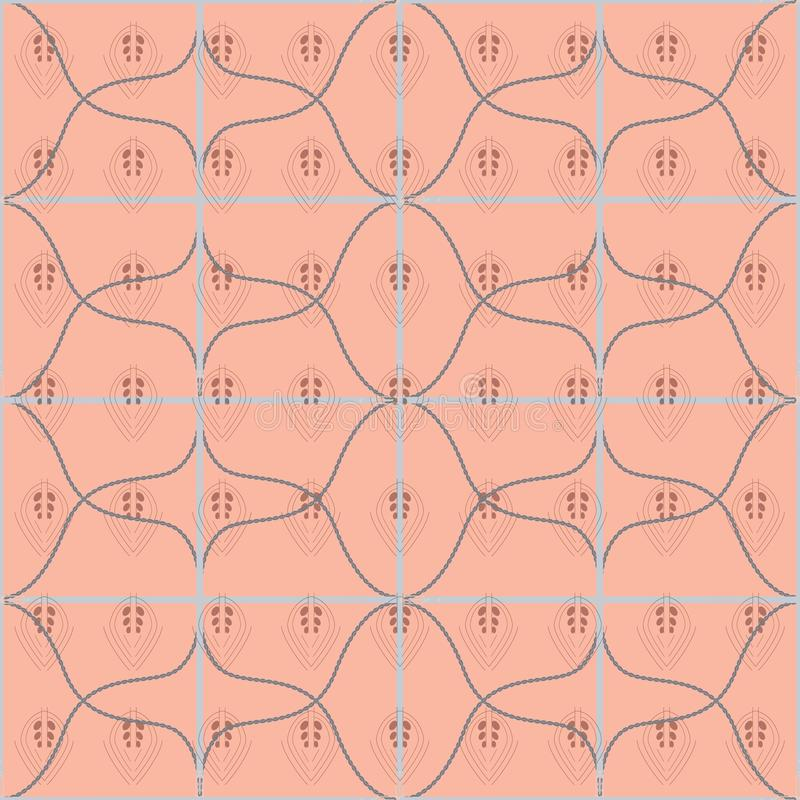 Seamless geometric pattern with belts, ropes and lace leaves. Complex vector print in coral, grey and smoky blue. vector illustration
