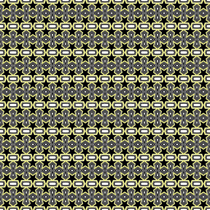 Seamless geometric pattern of black flowers and polygon shapes with yellow stroke lines. Flat design vector illustration, EPS10. vector illustration