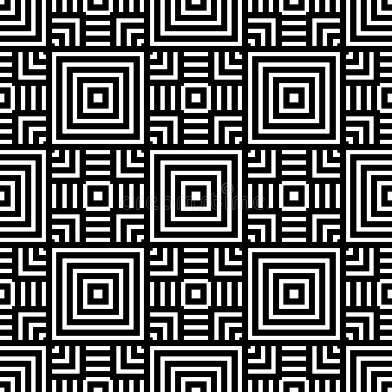Seamless Geometric Pattern, Black And White Simple Vector