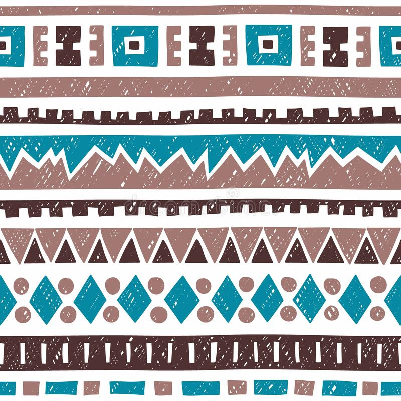 Seamless geometric pattern. Blue, brown and gray elements on white background. Ethnic and tribal motifs. Vintage ornament. stock illustration
