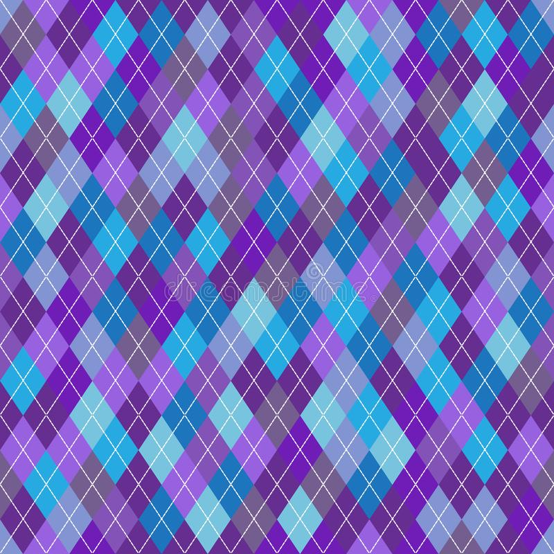 Seamless geometric pattern with blue, gray and violet rhombuses stock illustration